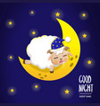 sheep sleep on moon vector image vector image