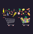 shop trolley and products vector image vector image