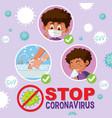 stop coronavirus with boy doing step vector image vector image