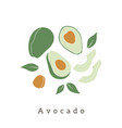 stylish avocado design contemporary art print vector image vector image