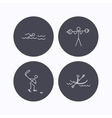 Swimming hockey and kayaking icons vector image
