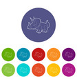 triceratops icons set color vector image