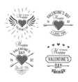 valentines day black typographic labels vector image vector image