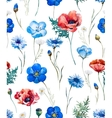 Watercolor wild flowers pattern vector image vector image