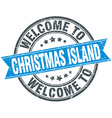 welcome to Christmas Island blue round vintage vector image vector image