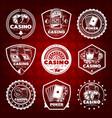 white vintage gambling labels set vector image