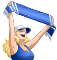 Woman Holds Sports Team Scarf and Shouts vector image vector image