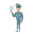 young hispanic policeman holding a hand mirror vector image