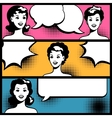 for comic books with retro girl in pop art style vector image