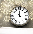 2019 new year background with clock and fireworks vector image