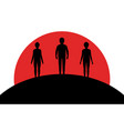 a man and two women stand on a hill sunset vector image vector image