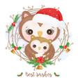 adorable owl motherhood for christmas decoration vector image vector image