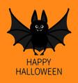 bat standing happy halloween cute cartoon vector image vector image
