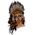 beautiful girl in a headdress north american vector image vector image