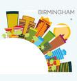 birmingham skyline with color buildings blue sky vector image vector image