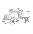 cartoon dump truck outline tipper truck vector image vector image