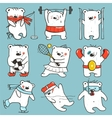 Cartoon Sport Bears in Action Collection vector image vector image