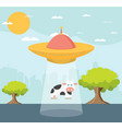 cartoon ufo cow abduction vector image
