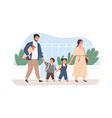children going to school together with their vector image