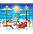 christmas card with urban landscape and snowfall vector image vector image