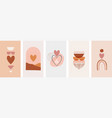 collection boho valentines day symbols vector image vector image