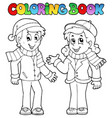 coloring book kids theme 1 vector image vector image