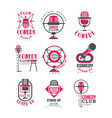 comedy club logo design set stand up show signs vector image vector image