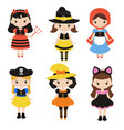 cute cartoon children in colorful halloween vector image vector image