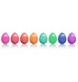 easter eggs with realistic ornament pattern vector image