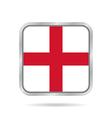 flag of England shiny metallic gray square button vector image