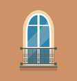 flat arched window and decorative facade cornice vector image vector image