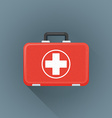 flat red medical suitcase icon vector image