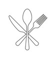 fork knife and spoon icon flat outline graphic vector image vector image