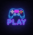 gaming neon sign play design template neon vector image vector image