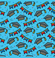 graduation caps seamless pattern vector image