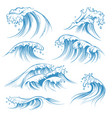 hand drawn ocean waves sketch sea waves tide vector image vector image