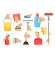 hands with household equipment vector image
