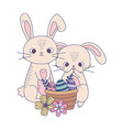 happy easter day cute rabbits eggs in basket vector image vector image