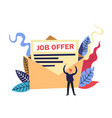 happy person in a suit male applicant receiving a vector image vector image