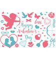 happy valentine s day icon set of stencil vector image