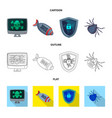 isolated object of virus and secure logo set of vector image