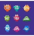 Monster With Words In Mouth For Teeth Set vector image vector image