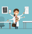 multitasking busy female doctor smiling vector image vector image