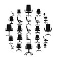 office chair icons set simple style vector image vector image