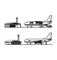 passenger and cargo airplane at airport vector image vector image