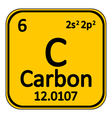 Periodic table element carbon icon vector image vector image