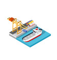 port cargo ship transport logistics vector image vector image