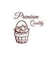 premium quality tomatoes monochrome emblem vector image vector image