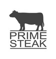 prime beef vintage icon steak label logo print vector image vector image