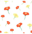 seamless background poppy flower red yellow vector image vector image
